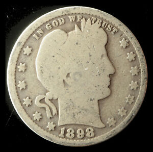 1898 P BARBER 90  SILVER QUARTER SHIPS FREE. BUY 5 FOR $2 OFF