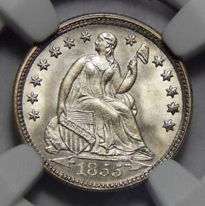 Click now to see the BUY IT NOW Price! 1855 NGC MS67 ARROWS SEATED LIBERTY HALF DIME
