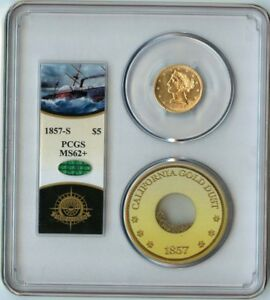 Click now to see the BUY IT NOW Price! 1857 S $5 LIBERTY HALF EAGLE PCGS MS62   CAC  S.S. CENTRAL AMERICA W/PINCH