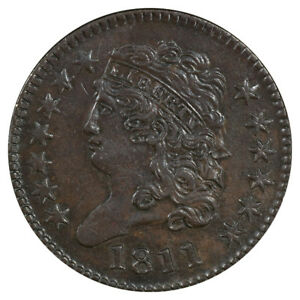 Click now to see the BUY IT NOW Price! 1811 1/2C C 2 R.3 PCGS AU55BN CAC