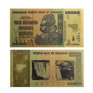 GOLD FOIL BANKNOTE ZIMBABWE FOREIGN CRAFT BANKNOTES WORLD CARD COLLECTION GIFT