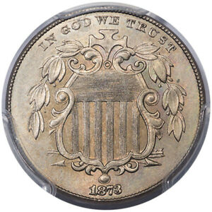 Click now to see the BUY IT NOW Price! 1873 5C LARGE/SMALL 3 FS 1301 PCGS MS64 CAC