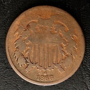 1866 TWO CENT PIECE BRONZE 2C COIN