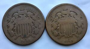 LOT OF 2 1864 & 1865 TWO CENT BRONZE COIN 2C COINS