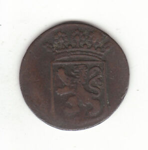 1743 DUTCH NEW YORK PENNY HOLLAND ARMS 1 DUIT COLONIAL COIN.