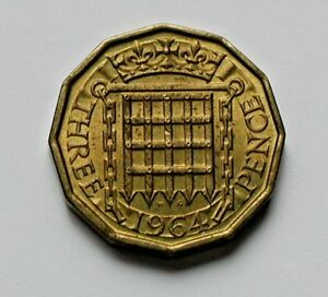 1964 UK  GREAT BRITAIN  COIN   3 PENCE   AU  TONED LUSTRE   12 SIDED SHAPE