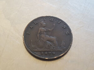 ONE FARTHING GREAT BRITAIN COIN 1879   QUEEN VICTORIA  GOOD GRADE