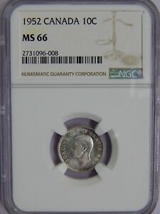 Click now to see the BUY IT NOW Price! 1952 CANADA SILVER TEN CENTS NGC MS 66 DOUBLE 19