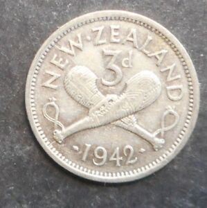 NEW ZEALAND 1942 KGVI 3D  SILVER COIN  NICE