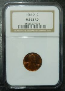 1981 D LINCOLN MEMORIAL CENT   NGC MS 65 RD    RED 1 C  COIN  1981 D