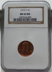 1972 S LINCOLN MEMORIAL CENT   NGC MS 65 RD    1972 S RED 1 C  COIN