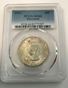 1934 PCGS MS66 MARYLAND SILVER COMMEMORATIVE HALF DOLLAR  MS 66 50C 597