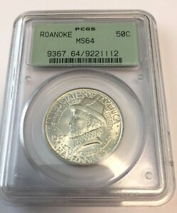 1937 PCGS MS64 ROANOKE COMMEMORATIVE SILVER HALF DOLLAR OGH MS 64 112