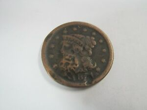 ESATE FINE 1851 BRAIDED HAIR LARGE CENT COPPER TYPE COIN ONE CENT US PENNY