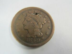 ESTATE FINE 1849  LARGE CENT COPPER TYPE COIN ONE CENT US PENNY