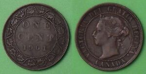 1901 CANADA VICTORIA BUST LARGE 1 CENT GRADED AS FINE