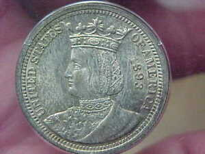 1893 ISABELLA QUARTER COMMEMORATIVE PCGS MS63 OGH SMALL OLD HOLDER TONED UPGRADE