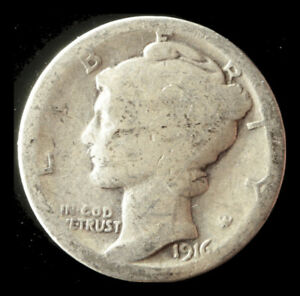 1916 P MERCURY 90  SILVER DIME SHIPS FREE. BUY 5 FOR $2 OFF