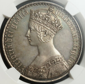 Click now to see the BUY IT NOW Price! 1847 GREAT BRITAIN QUEEN VICTORIA.  PROOF SILVER GOTHIC CROWN. NGC PF 62