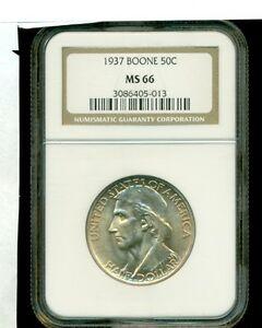 1937 BOONE COMMEMORATIVE SILVER COIN 50C NGC MS 66.. TONE