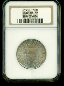 1936 YORK 50C NGC MS67 EXCEPTIONAL TONING SILVER HALF DOLLAR COMMEMORATIVE COIN