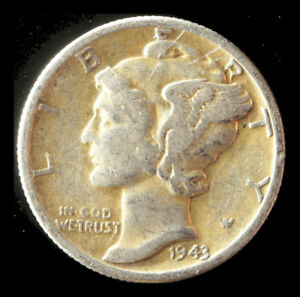 1943 P MERCURY 90  SILVER DIME SHIPS FREE. BUY 5 FOR $2 OFF