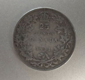 1931 CANADA 25 CENTS SILVER COIN