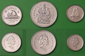 2000W CANADA NICKEL DIME HALF DOLLAR COMBO ALL FROM MINT SETS
