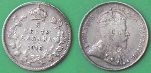 1910 CANADA POINTED LEAVES SILVER NICKEL GRADED AS FINE