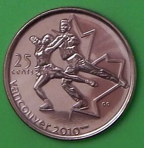 2008 CANADA FIGURE SKATING 25 CENTS WINTER GAMES 2010 SERIES FROM MINT ROLL