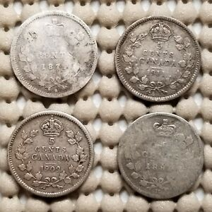 4 X CANADA 5 CENTS SILVER COINS 1881 H 1911 1909 1874 H