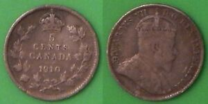 1910 CANADA POINTED LEAVES NICKEL 92.5  SILVER GRADED AS FINE