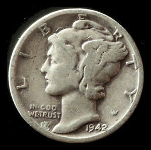 1942 D MERCURY 90  SILVER DIME SHIPS FREE. BUY 5 FOR $2 OFF