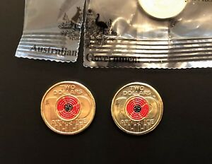 1 X BRAND NEW UNCIRCULATED $2 COIN 2018    ARMISTICE    RED POPPY