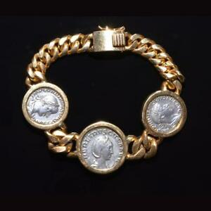 Click now to see the BUY IT NOW Price! AN 18K GOLD BRACELET SET WITH ROMAN DENARIUS OF GORDIAN III & TRANQUILLINA CA.