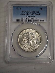 1924 MS 64 HUGUENOT PCGS GENUINE CLEANED UNC DETAIL  1212