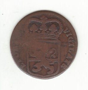 1767 DUTCH NEW YORK PENNY OVERYSSEL ARMS 1 DUIT COLONIAL COIN.  .