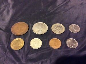 LOT OF 8 MIXED FOREIGN COINS   1946 GEORGIS VI   GERMANY /PANAMA/HUNGARY/FRANCE