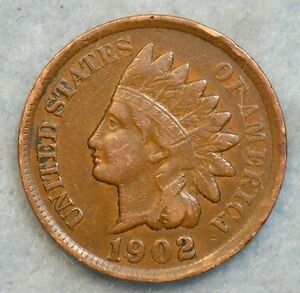 1902 INDIAN HEAD CENT PENNY NICE OLD COIN LIBERTY FAST S&H 254