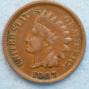 1907 INDIAN HEAD CENT PENNY NICE OLD COIN PARTIAL LIBERTY FAST S&H 78191