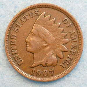 1907 INDIAN HEAD CENT PENNY NICE OLD COIN PARTIAL LIBERTY FAST S&H 76670