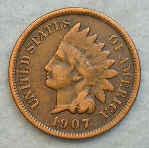1907 INDIAN HEAD CENT PENNY NICE OLD COIN LIBERTY FAST S&H 277