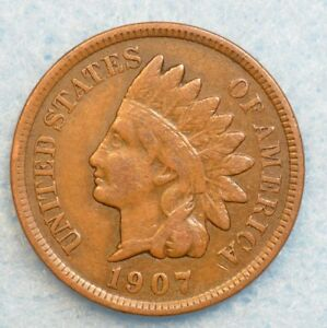 1907 INDIAN HEAD CENT PENNY NICE OLD COIN PARTIAL LIBERTY FAST S&H 36141
