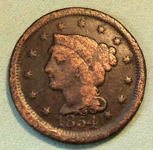 1854 LARGE CENT NICE BARGAIN BOX