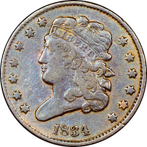 1834 CLASSIC HEAD 1/2 CENT NGC CERTIFIED VF DETAILS OBV SMALL SCRATCH BSBC  14