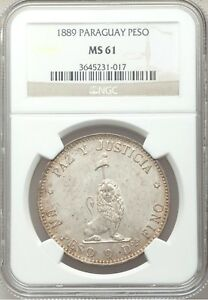 Click now to see the BUY IT NOW Price!  1889 PARAGUAY PESO SILVER NGC MS61 BU UNC UNCIRCULATED REALES REPUBLIC