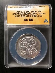 Click now to see the BUY IT NOW Price! AD 579 590 DRACHM SASANIAN HORMIZID IV YAZAD MINT GRADED AU55 BY ANACS