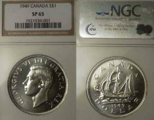Click now to see the BUY IT NOW Price! CANADA 1949 DOLLAR SUPERB GEM SPECIMEN NGC 65 PQ