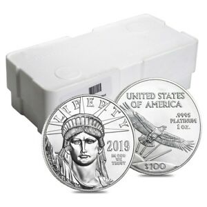 Click now to see the BUY IT NOW Price! BOX OF 100   2019 1 OZ PLATINUM AMERICAN EAGLE $100 COIN BU  5 ROLL LOT TUBE OF