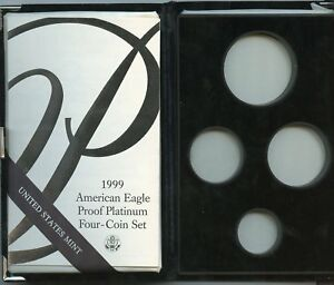 1999 4PC PROOF PLATINUM AMERICAN EAGLE BOX & COA NO COINS OR CAPSULES